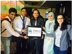Young family doctor from India, Pratyush Kumar (centre), launching the WONCA Rural South Asia (WoRSA) health group, with the support of leaders of the Spice Route Movement