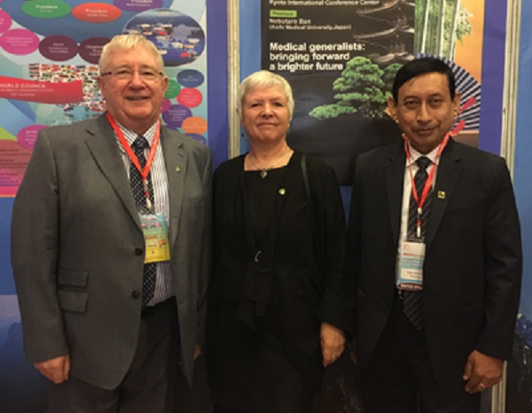 Garth and Amanda Howe, with then South Asia region president Kanu Bala, in November 2017