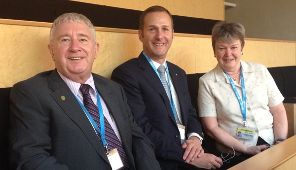 Attending the World Health Assembly with Michael Kidd and Ruth Wilson in June 2015