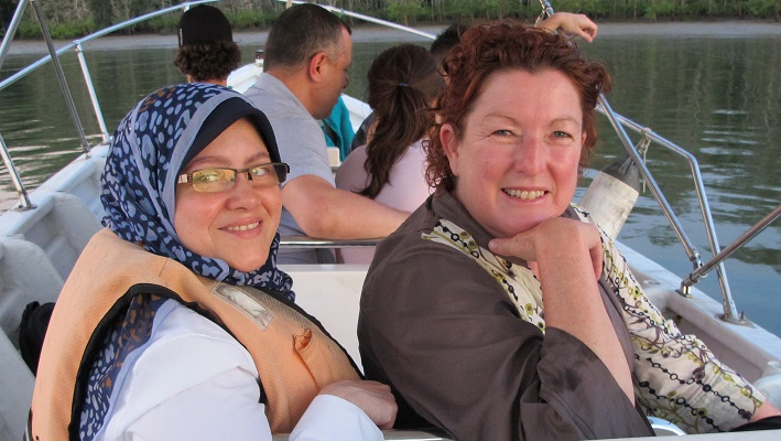 The WONCA editor relaxing on a boat trip in Kuching, Malaysia 2014 with Omneya El Sharif (Egypt)
